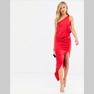 ASOS Red satin one shoulder drape midi dress